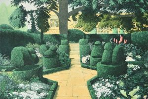 The White Garden at Hidcote, 1984 hand-coloured etching with aquatint