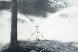 Tuileries Sprinkler, Paris, 1982 graphite and pencil on paper.
